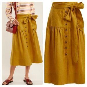 Sea New York Button Front Tie Waist Linen Skirt 0